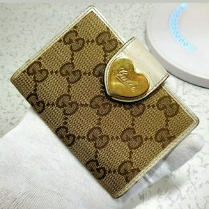 Auth Gucci compact cute monogram card pass case